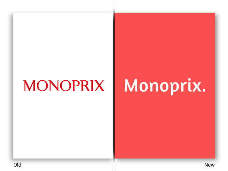 Monoprix ! new old magasin boutique store rebrand typo minimal red retail shop price