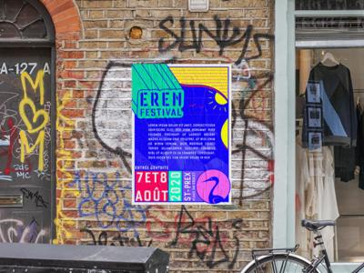 ErenFestival's poster ! poster design blue bird heron branding graphic  design colors music festival illustration poster