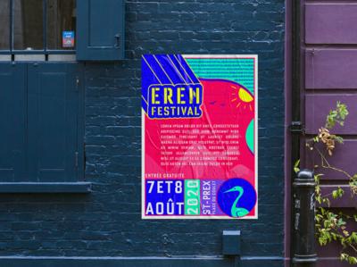 ErenFestival's poster ! v2 graphic design poster illustration music festival heron multicolors bird blue poster design