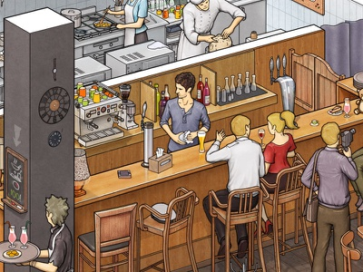 Part-time job as a barman.