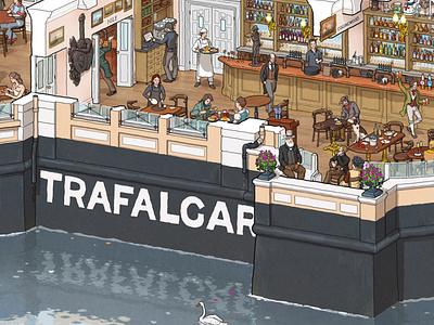 Trafalgar Tavern Greenwich trafalgar greenwich london maxdwork illustration cutaway