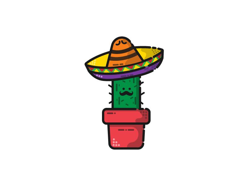 Cactus (21/30) sombrero cactus illustration flatdesign icon vector adobe illustrator logodesigner dribbbleshot