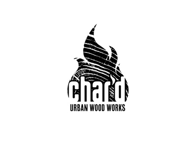 Char'd Urban Wood Works craft woodwork texture textured logos white black logo wood
