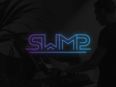 SWMP Music Producers vibrant producer neon singleline purple blue gradient production music