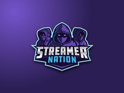StreamerNation Concept gradient blue purple online community gaming logo esport esports