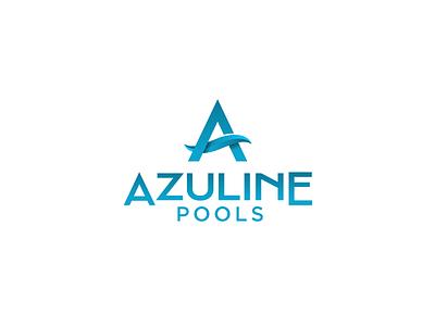 Azuline Pools icon simple typography logos waves wave geometric sharp gradient pool water blue aqua logodesigner logo design design logo