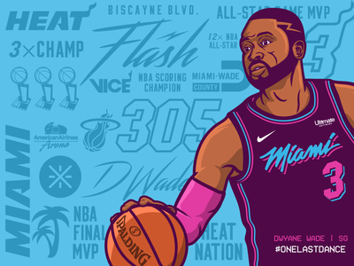 Wade #OneLastDance design typography vector cartoon graphic heat bold bold lines bright colors graphic design graphic art sweet16 south beach miami vice illustration onelastdance wad3 dwyane wade miami heat wade