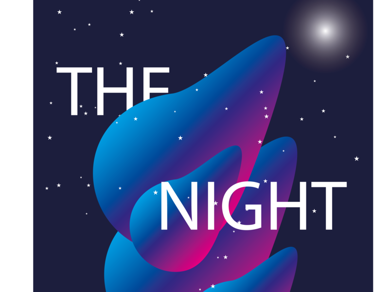 The Night Show lettering flat design animation vector illustration