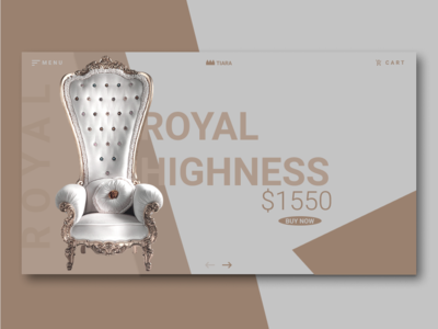 Royal Chair Ui illustration typography antique ash brown royalchair interior royalty minimal productcard webdesign e-commerce app ux ui vector design