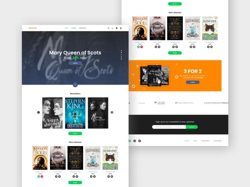 Bookstore ui ux simple uiux landing page interface minimal shop store bookstore book ui web web design webdesign