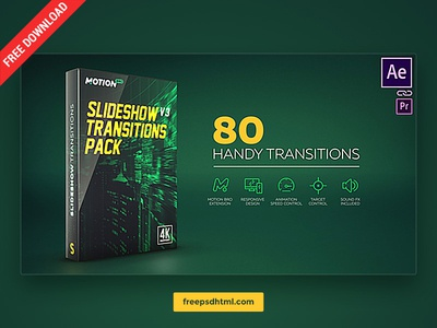 Slideshow Transitions Pack – Free After Effects Templates animate cc tutorial after effect package transitions slideshow designer creative freebies template download