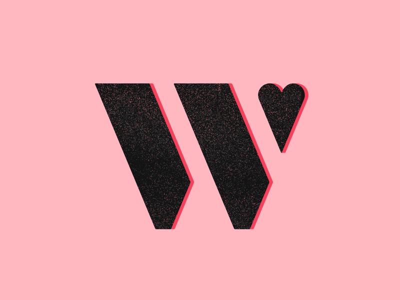 36 Days of Type / W logo werock lettering art sans serif sanserif pink black re heart texture vector challenge 36daysoftype typography type font lettering
