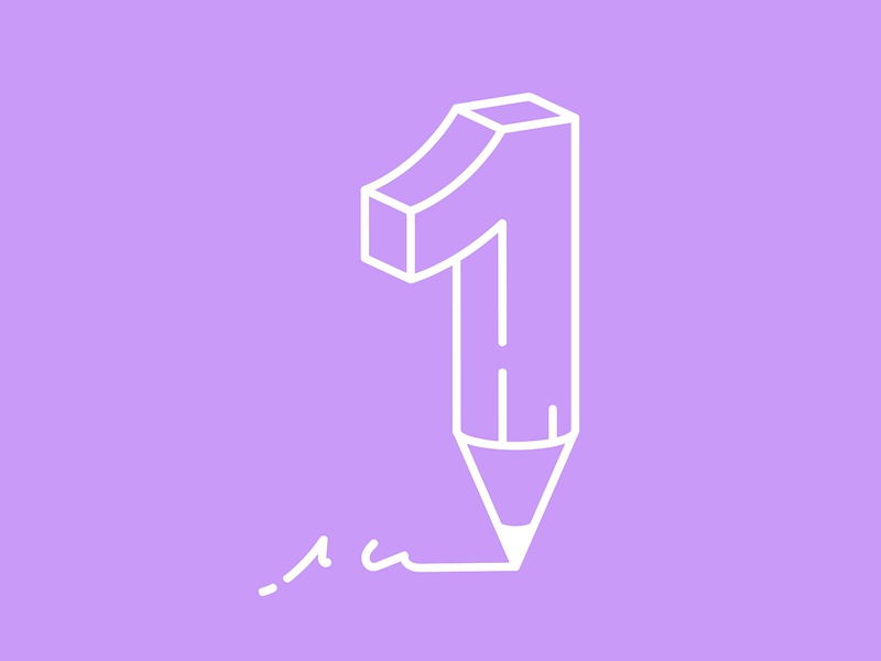 36 Days of Type / 1 werock 36daysoftype white illustration typo typography lettering type graphic design graphics monoline purple pencil crayon 1 number 1 number one number one