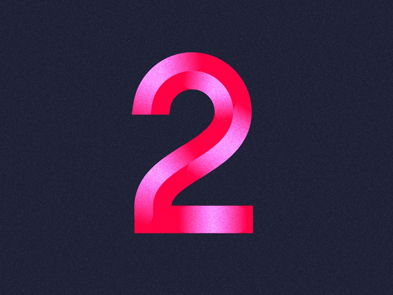 36 Days of Type / 2 sanserif texture noise gloss shiny number two number2 number two 36daysoftype pink lettering typography logo werock type vector graphic design