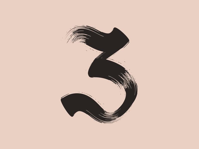 36 Days of Type / 3 werock texture 36daysoftype vector digital lettering art black gothic serif brushstroke chinesebrush brush 3 number3 three number typography lettering