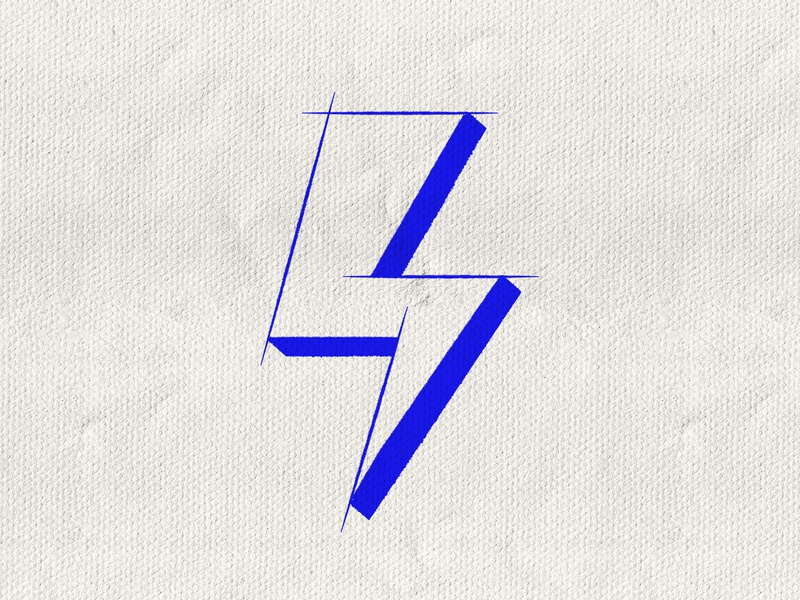 36 Days of Type / 4 paper texture brush vector graphic design number 4 36daysoftype type icon symbol typography lightning bolt cobalt blue electric lettering number 4 four