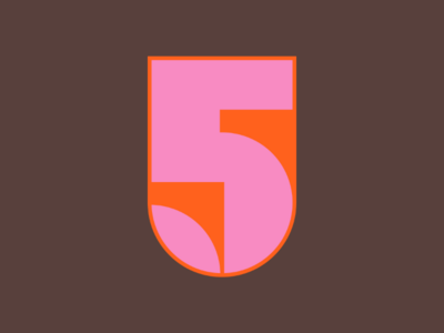 36 Days of Type / 5 number five 5 letter vector negative space pink orange geometric retro shape 36daysoftype 36days-5 type typography five number 5 number lettering