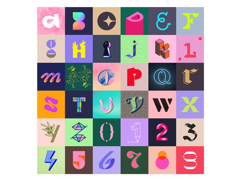 36 Days of Type / ALL thumbnails shapes monoline effects illustration brushes texture logo alphabet type vector colourful letter number typography 36daysoftype 36daysoftype07 challenge lettering