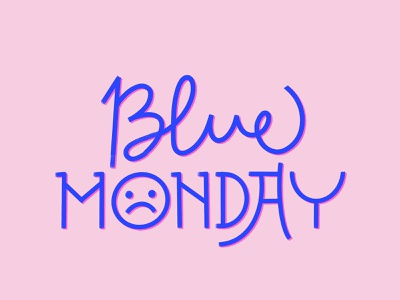 Blue Monday colourful lettering love typematters cursive script calligraphy letters brush procreate lettering brushes typeface pink blue monday emoji sad monoline lettering procreate typography