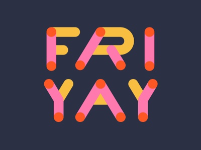 FRIYAY logotype typography shapes vector energy orange pink letters custom font rounded monoline colorlover colours yay friyay lettering weekend happy friday