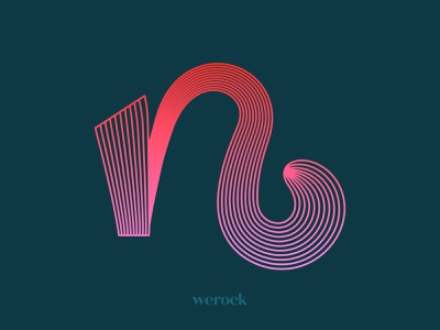 Letter n brush caligraphy pink ombre gradient monoline lines n werock graphic design graphics vector typography type font display alternate letter lettering experimental