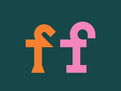 f+f display alternates logotype logo font branding illustration pink werock vector graphic design colourful shape type typography typeface lowercase letters lettering f
