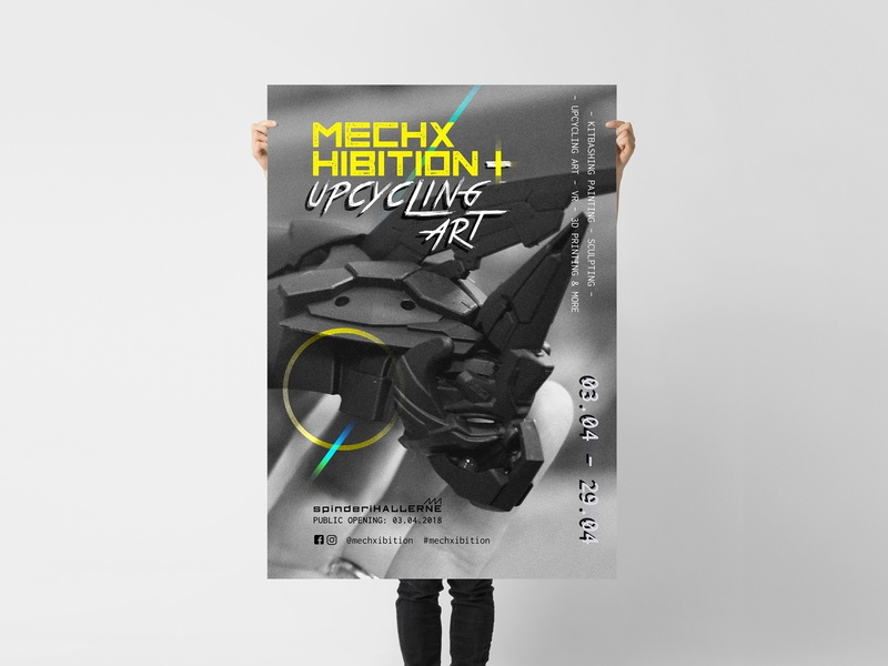 MechXhibition [mech + exhibition] Poster layout dystopia futurism rainbow yellow monospace poster art upcycling art robots sculpture utopia sci-fi mech exhibition event visual identity visual communication logo design poster