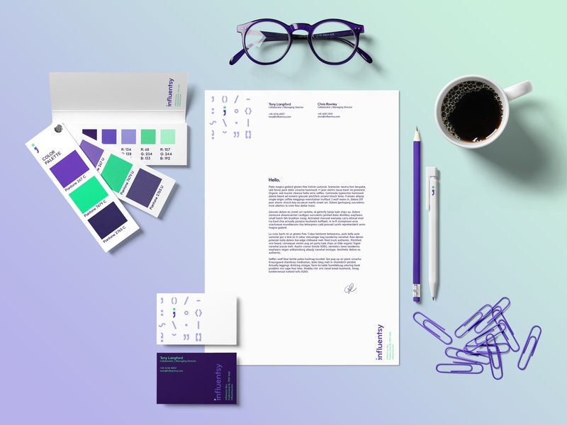 Influentsy Stationery pantone color palette letterhead business card paper stationery collateral copyrighting communication type typography visual communication purple visual identity werock logo green vector graphic design branding