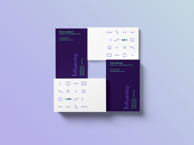 Influentsy Business Cards corporate spot color pantone studio agency marketing copywriting typography communication type visual communication purple green werock logo visual identity branding collateral graphic design business card