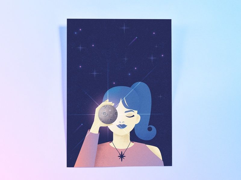 I'm a Moon Girl crater night poster research graphic design vector editorial illustration apollo 11 mood stars blue girl illustration anniversary space cosmos astronomy aerospace moon