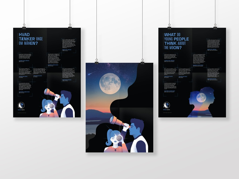...about the Moon part II quotes illustration girl boy font typography sky night telescope noise thoughts young future cosmic danish aerospace space moon poster graphic design