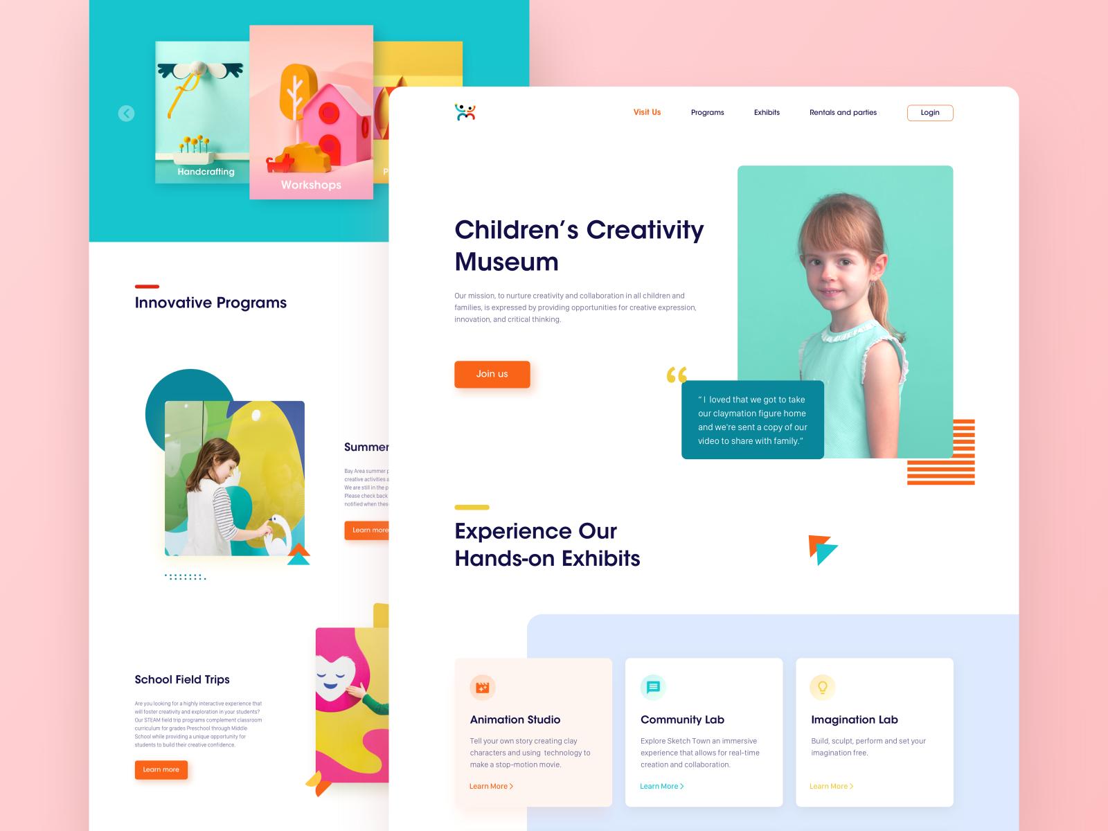 Children S Creativity Museum Homepage By Shirley Zhang For Radesign On Dribbble