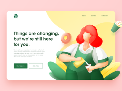 Starbucks Homepage woman character homepage barista green yellow coffee starbucks illustration user interface ui design rdd