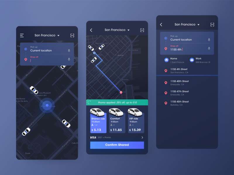 Ride Sharing - Dark mode ux app dark mode ridesharing ui design color user interface rdd