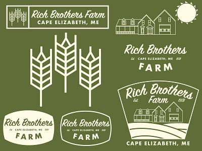 Rich Brothers Farm Branding icon illustration vector illustrator logo branding design farming branding maine farm