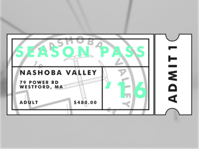 Nashoba Valley - Season Pass pass ticket sketch illustrator branding logo winter nashoba snowboard ski