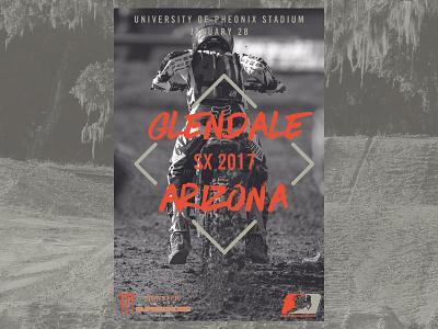Supercross Event Poster - Glendale, AZ poster action sports racing arizona glendale fox racing mx motocross sx supercross