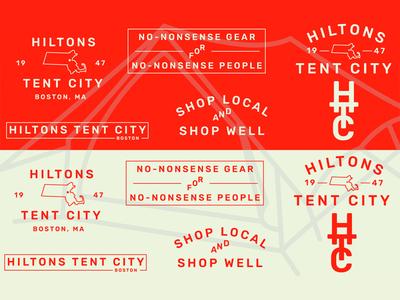 Hiltons Tent City - Logotype typography identity orange store tent boston logo branding