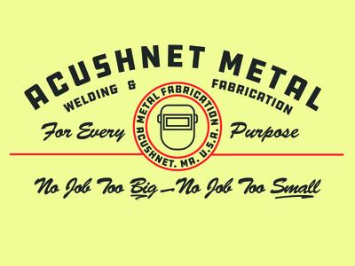 Acushnet Metal blue collar metal welding logo mark word mark brand identity logo