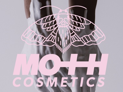 MOTH Cosmetics pink type logo mark logo illustrator skin care vegan moth cosmetics branding makeup
