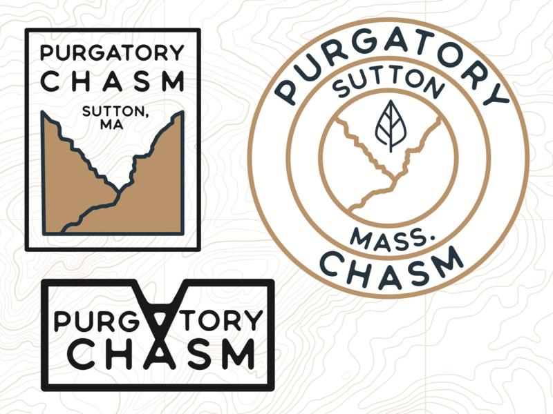 Purgatory Chasm badge nature wilderness massachusetts sutton purgatory chasm illustration branding vector logo illustrator