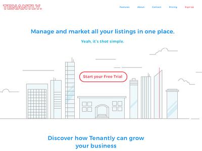 Tenantly Landing Page web ui sketch vector branding design ux illustration illustrator