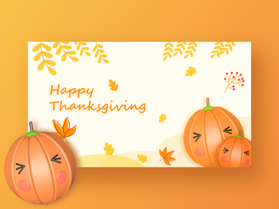 Happy thanksgiving pumpkin cinema 4d c4d illustration