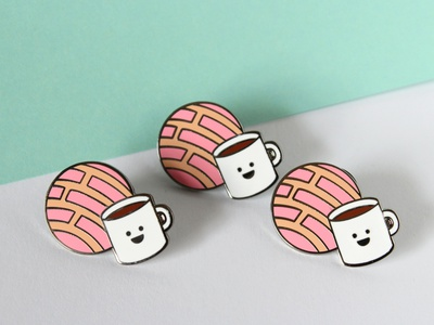 Concha and Coffee Hard Enamel Pin vector graphic design pastry dessert illustration pan dulce concha hard enamel pin