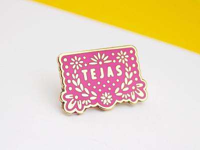 Papel Picado Texas Enamel Pin tejas cute fiesta graphic design spanish texas design lapel pin mexican papel picado illustration enamel pin
