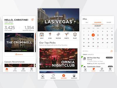 Caesars Mobile App las vegas casino android hotel gambling fjord cards calendar ios app ui mobile