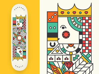 Caesars Skateboard geometric illustration queen king playing card deck skateboard las vegas gambling fjord casino poker
