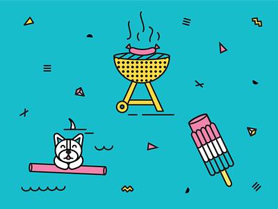 Still Summer in Austin summer illustration bbq popsicle dog swimming grill 90s confetti shapes ice cream fjord
