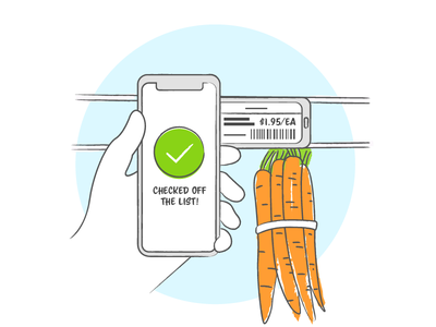 Grocery User Story Illustration illustration storyboard sketch phone hand grocery carrots
