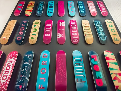 Fjord Skateboard Wall iterations skateboard fjord typography type